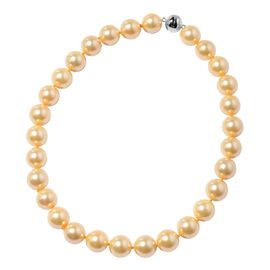 Golden Colour Shell Pearl (Rnd 15-17 mm) Necklace (Size 20) with Magnetic Lock in Rhodium Overlay St