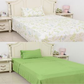 6 Piece Set  - 2xFitted Sheet, 2xFlat Sheet and 2x Pillow Case - Green - Single