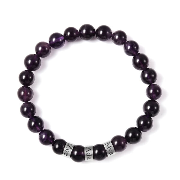 Personalise Engravable Amethyst Beads Stretchable Bracelet, Stainless Steel