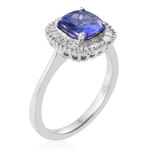 ILIANA 18K White Gold AAA Tanzanite (Cush 1.70 Ct), Diamond (SI/G-H) Ring 2.000 Ct.