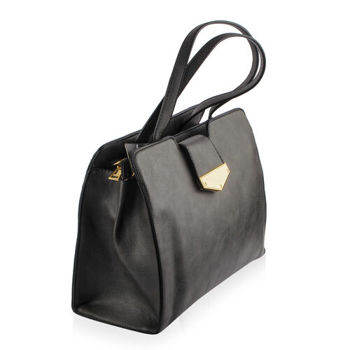 Dark Grey Colour Tote Bag with External Zipper Pocket and Adjustable and Removable Shoulder Strap (Size 33X24.5X12 Cm)