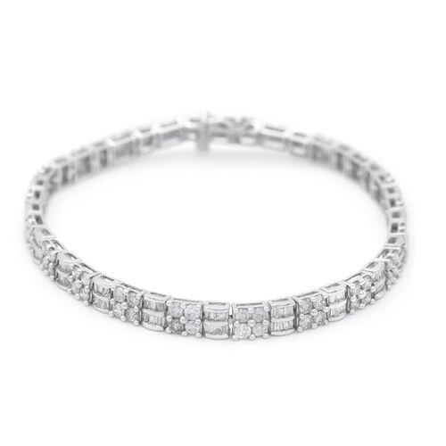 10K White Gold Independent Laboratory USA Certified Diamond (I1-I2/G-H) Bracelet (Size 7.5) 5.04 Ct,