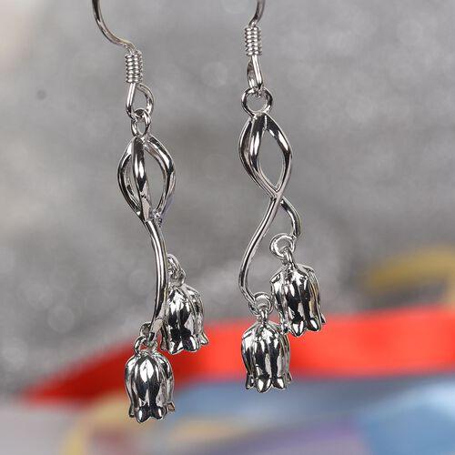 Platinum Overlay Sterling Silver Floral Hook Earrings, Silver wt 5.70 Gms