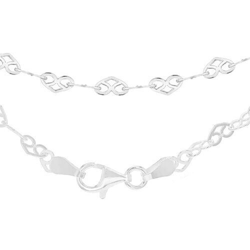 Sterling Silver Heart Link Chain (Size 16), Silver wt 3.50 Gms