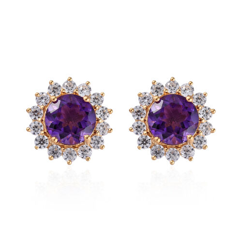 Amethyst (Rnd 10 mm), Natural Cambodian Zircon Stud Earrings (with Push Back) in 14K Gold Overlay St