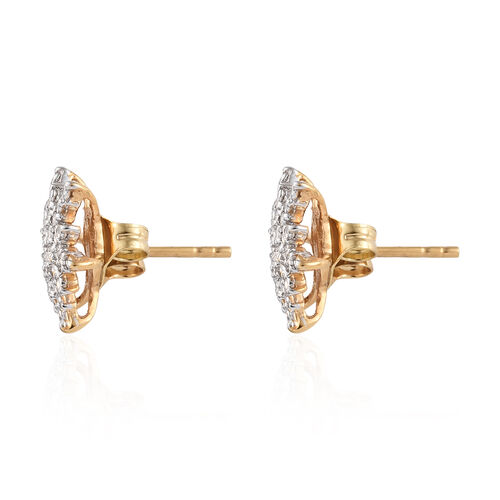 Diamond (Rnd) Starburst Stud Earrings (with Push Back) in 14K Gold Overlay Sterling Silver