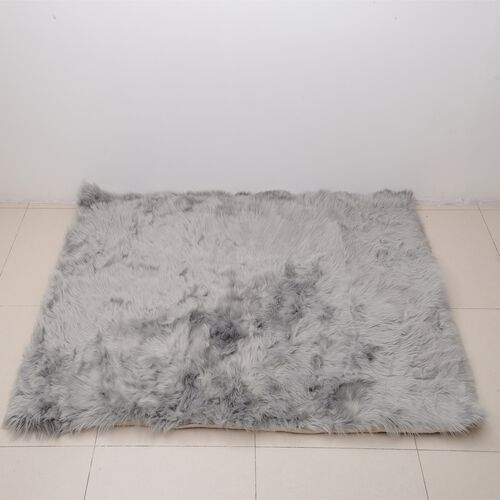 Luxury Edition - Shaggy Pile Super Deep Faux Sheep Skin Area Rug (Size 180x120 Cm) Grey