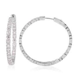 ELANZA Simulated Diamond Hoop Earrings in Rhodium Plated Sterling Silver 12 Grams