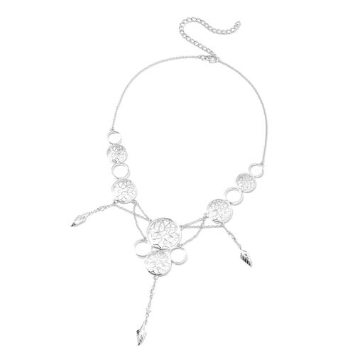 LucyQ Natural Cambodian Zircon Floral Necklace in Rhodium Plated Silver 16 with 4 inch Extender