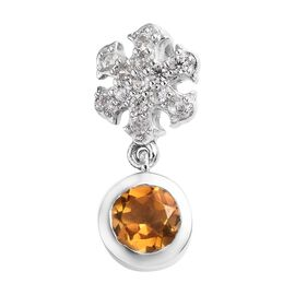 Citrine (Rnd), Natural Cambodian Zircon Snowflake Pendant in Platinum Overlay Sterling Silver 1.00 C