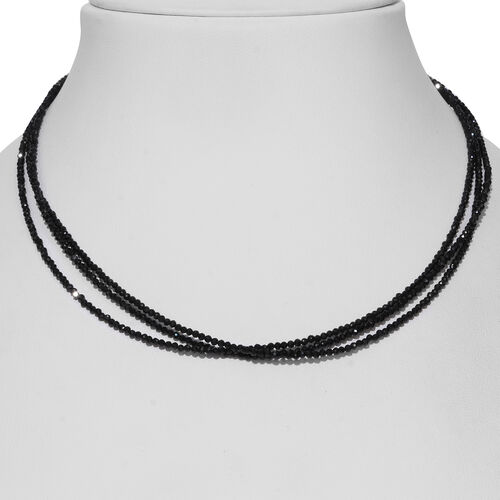 Boi Ploi Black Spinel (Rnd) Beads Necklace (Size 18) in Sterling Silver 54.000 Ct.