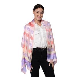 LA MAREY 100% Mulberry Silk Pink and Lavender Stripe Print Scarf (165x50cm)