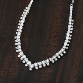 J Francis Platinum Overlay Sterling Silver Cluster Necklace (Size 18) Made with SWAROVSKI ZIRCONIA 12.95 Ct, Silver wt. 13.14 Gms