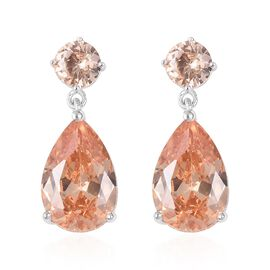 ELANZA Simulated Morganite (Pear and Rnd) Earrings (with Push Back) in Sterling Silver