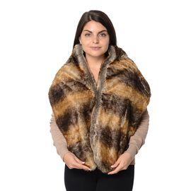 Animal Pattern Faux Fur Winter Wrap (Size 27.5x150 Cm) - Brown and Yellow