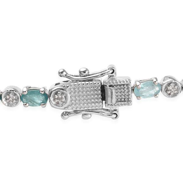 Grandidierite (Ovl), Natural Cambodian Zircon Bracelet (Size 7) in Platinum Overlay Sterling Silver 5.50 Ct., Silver wt 8.91 Gms