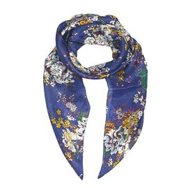 100% Mulberry Silk Floral Pattern Scarf (Size 100x100 Cm) - Blue and Multicolour