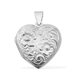 Rhodium Plated Sterling Silver Heart Locket Pendant.Silver Wt 6.03 Gms