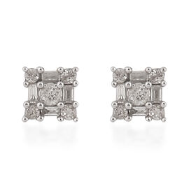 0.50 Ct Diamond Stud Cluster Earrings in 9K Yellow Gold SGL Certified I3 GH