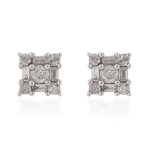 0.50 Ct Diamond Stud Cluster Earrings in 9K Yellow Gold SGL Certified I3 GH