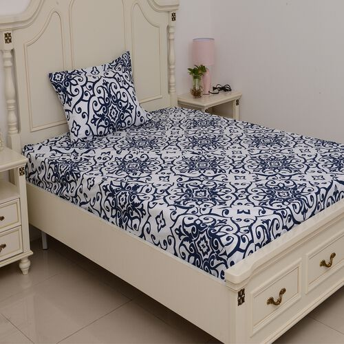 Set of 2 Blue and White Colour Single Size - 2 Fitted Sheet (190x90x30 Cm), 2 Flat Sheet (265x180 Cm) and 2 Pillow Case (75x50 Cm) in Damask and Embroidery Pattern