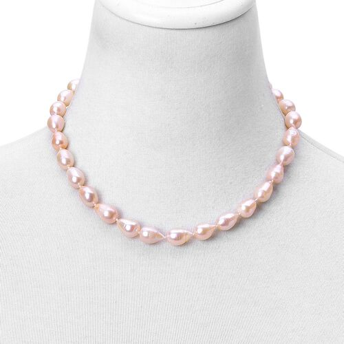 Peach Pearl Necklace: Hand Knotted High Lustre Double Shine Fresh Water Peach