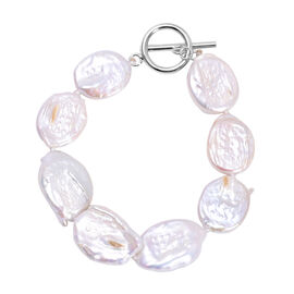 Baroque White Pearl Bracelet (Size 7 with T-Bar) in Rhodium Overlay Sterling Silver