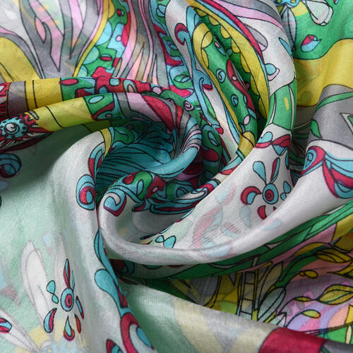 Close Out Deal- 100% Mulberry Silk Floral Pattern Scarf (Size 175x105 Cm) - Green and Pink