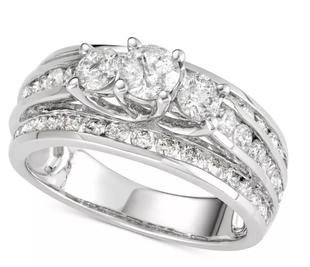 NY Close Out 14K White Gold Diamond (I1-I2/ G-H) Ring 2.00 Ct, Gold wt 5.00 Gms