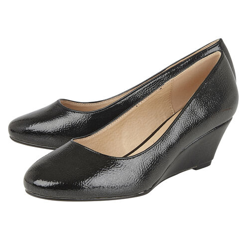 Lotus Crinkle Shiny Rose Wedge Shoes (Size 5) - Black