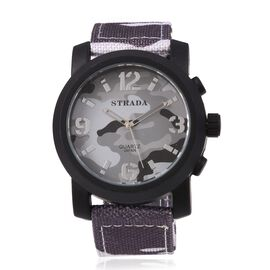 STRADA Japanese Movement Water Resistant Grey Camouflage Watch with Nylon Strap