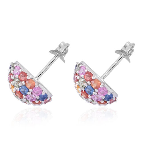 Rainbow Sapphire (Rnd) Stud Earrings (with Push Back) in Rhodium Plated Sterling Silver 5.250 Ct.