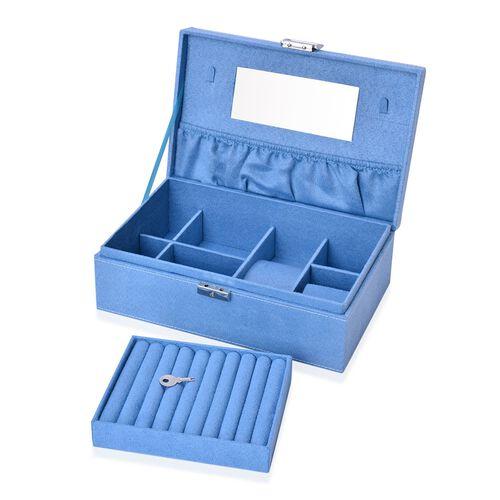 Light Turquoise Colour Velvet Jewellery Box with Mirror Inside (Size 25X16X8.5 Cm)