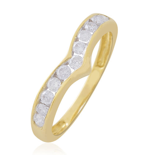 9K Yellow Gold SGL Certified Diamond (Rnd) (I3/G-H) Half Eternity Wishbone Ring 0.500 Ct.