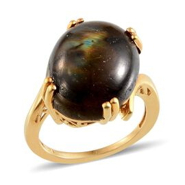 Labradorite (Ovl) Solitaire Ring in 14K Gold Overlay Sterling Silver 14.500 Ct.