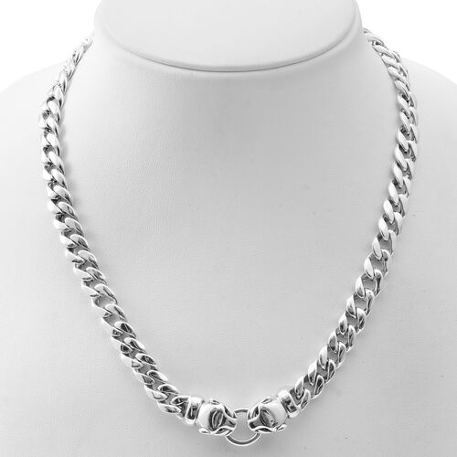 Designer Inspired-Sterling Silver Panther Head Curb Necklace (Size 19), Silver wt 50.00 Gms.