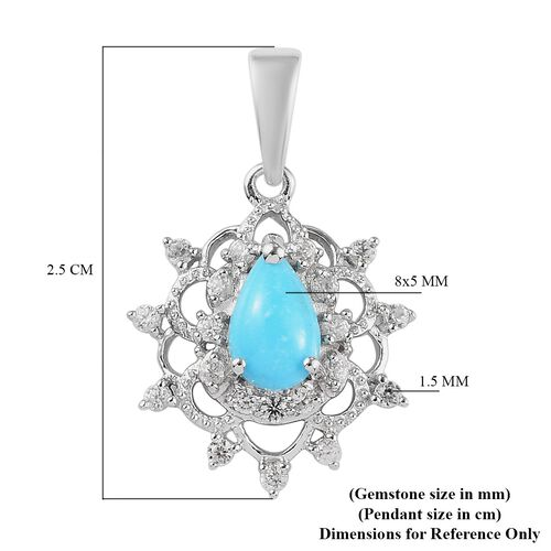 Arizona Sleeping Beauty Turquoise and Natural Cambodian Zircon Pendant in Platinum Overlay Sterling Silver