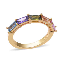 ELANZA Simulated Rainbow Sapphire Ring in Yellow Gold Overlay Sterling Silver 3.03 Ct.