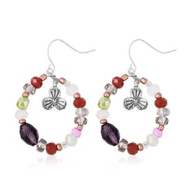 Simulated Multi Colour Gemstone Hook Earrings in Silver Plated