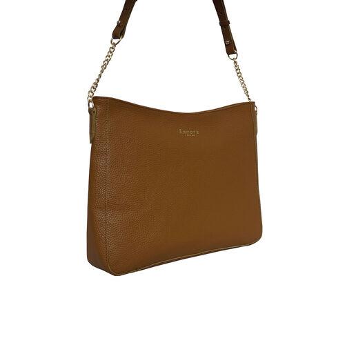 Assots London LOUISA - 100% Genuine Leather Handbag with Shoulder Strap (30x7x24cm) - Tan