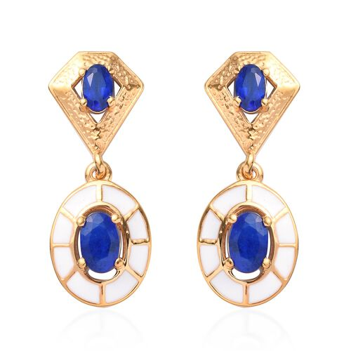 Tanzanian Blue Spinel Enamelled Drop Earrings (with Push Back) in 14K Gold Overlay Sterling Silver 1