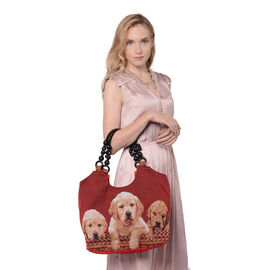 Three-Dogs Pattern Jute Handbag (38x11x29cm) - Red