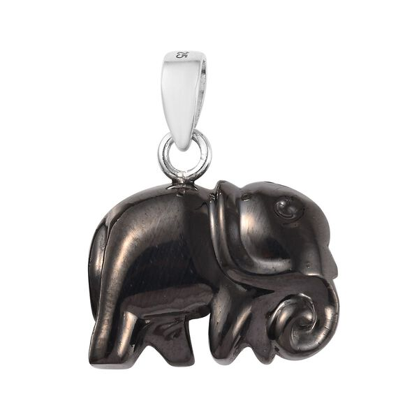 Elite Shungite Elephant Pendant in Sterling Silver 10.08 Ct.