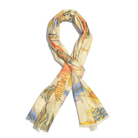 100% Modal Cream Base Digital Printed Multi Colour Feather Scarf Size 200x70 Cm