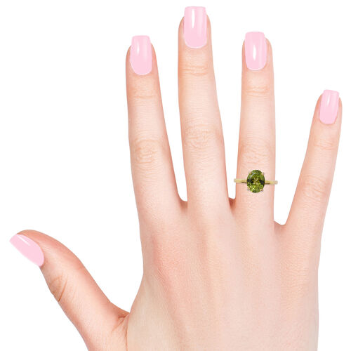 Rare Size- Hebei Peridot (Ovl 10x8 mm) Solitaire Ring in Yellow Gold Overlay Sterling Silver 3.000 Ct