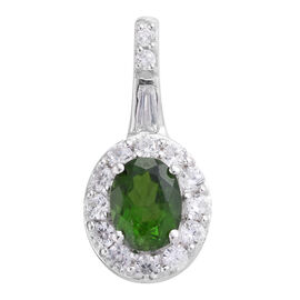 Russian Diopside (Ovl 1.25 Ct), Natural Cambodian Zircon Pendant in Platinum Overlay Sterling Silver