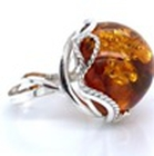 Natural Baltic Amber Ring (Size P) in Sterling Silver, Silver wt 5.10 Gms