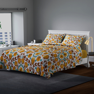 3 Piece Set - Microfiber Floral Printed Quilt (240x260Cm) and 2 Pillow Case (50x70+5Cm) - Yellow and Multi