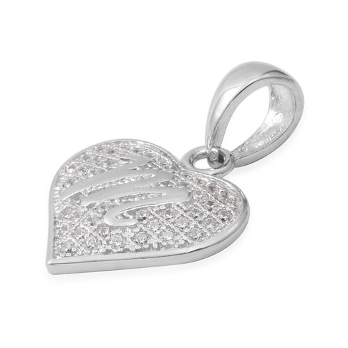 ELANZA Simulated Diamond (Rnd) Heart with Initial M Pendant in Rhodium Overlay Sterling Silver