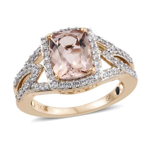 GP 9K Rose Gold Marropino Morganite (Cush 9x7 mm), Natural Cambodian Zircon and Blue Sapphire Ring 2